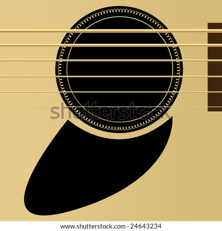 Editable vector illustration - Acoustic guitar close up - stock vector