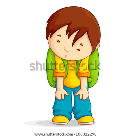Editable vector illustration of a boy with school bag depressed - stock vector
