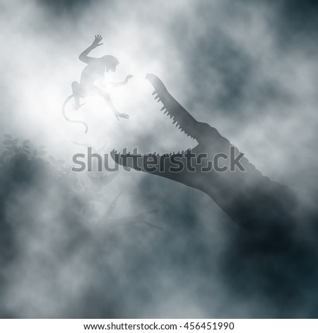 Editable vector illustration of a crocodile hunting a monkey in a misty swamp created using gradient vectors - stock vector