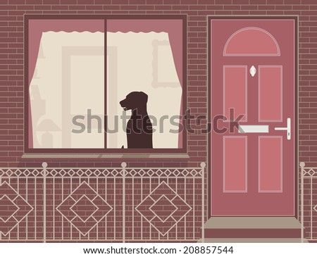 Editable vector illustration of a dog looking out of a house window - stock vector