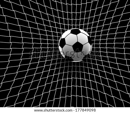 Editable vector illustration of a football hitting the back of the net - stock vector