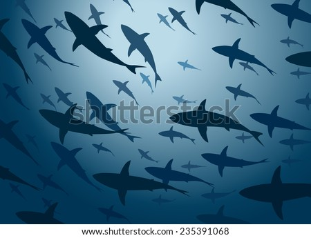 Editable vector illustration of a large school of cruising sharks from below - stock vector