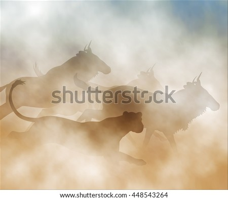 Editable vector illustration of a lioness chasing a herd of wildebeest made using gradient meshes