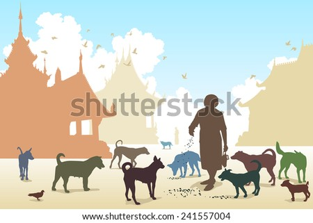 Editable vector illustration of a woman feeding stray dogs in a Buddhist temple where many abandoned pets end up - stock vector