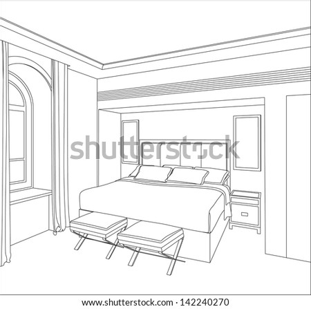 Editable vector illustration of an outline sketch of a interior. 3D Graphical drawing interior - stock vector