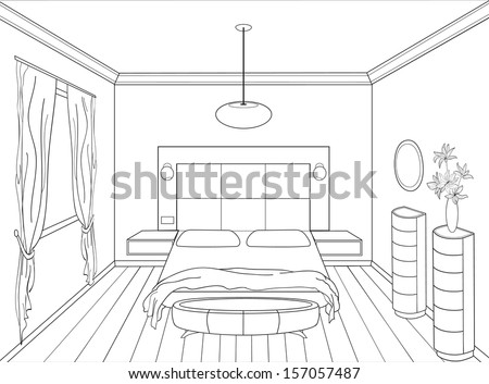 Pencil sketch of a room on perspective graphical