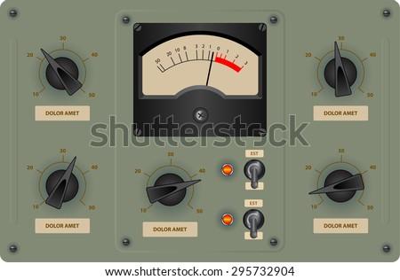 Editable vector illustration of analog control panel - stock vector