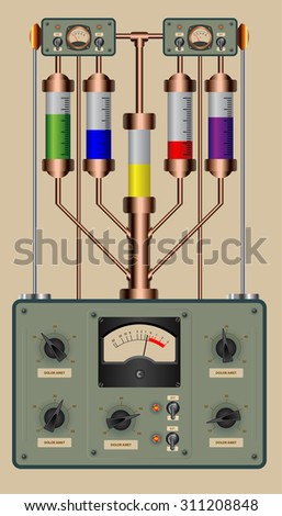 Editable vector illustration of analog control panel of a steampunk style device - stock vector
