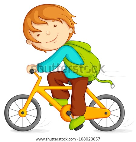 Editable vector illustration of boy cycling
