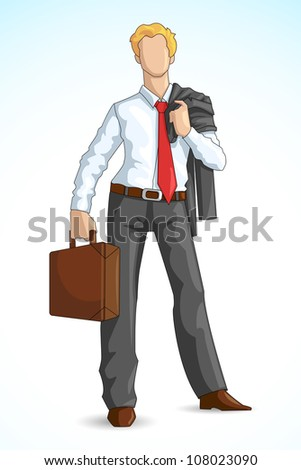 Editable vector illustration of Business Executive with briefcase