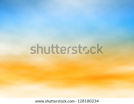 Editable vector illustration of high misty clouds in a blue and orange sky made with a gradient mesh - stock vector