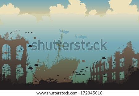 Editable vector illustration of marine life on a shipwreck and underwater city ruins - stock vector