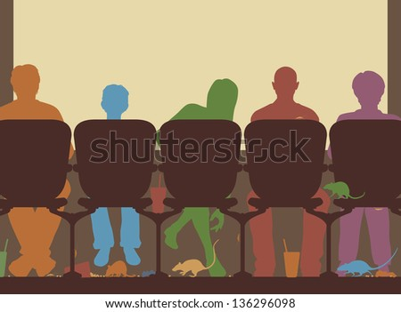 Editable vector illustration of people in a cinema with rubbish and rats on the floor - stock vector