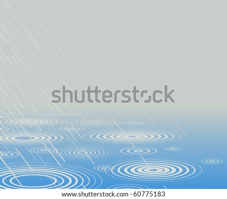 Editable vector illustration of rain falling into water with copy-space