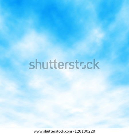 Editable vector illustration of white clouds in a blue sky made with a gradient mesh - stock vector
