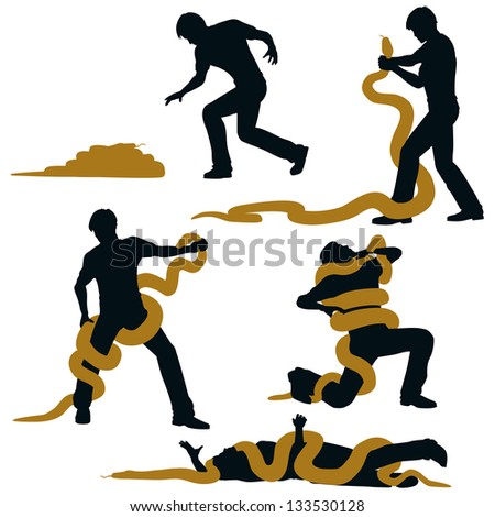 Editable vector illustration sequence of a man wrestling with a large snake and losing - stock vector