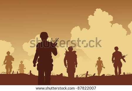 Editable vector illustration soldiers walking on patrol - stock vector