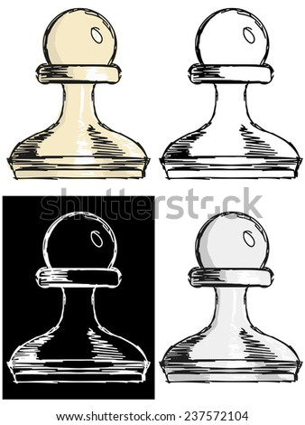 Editable vector illustrations in variations, chess pawn - stock vector