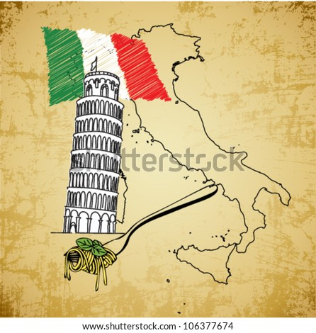 Editable vector Italy vintage illustration with Italian flag, spaghetti and map - stock vector