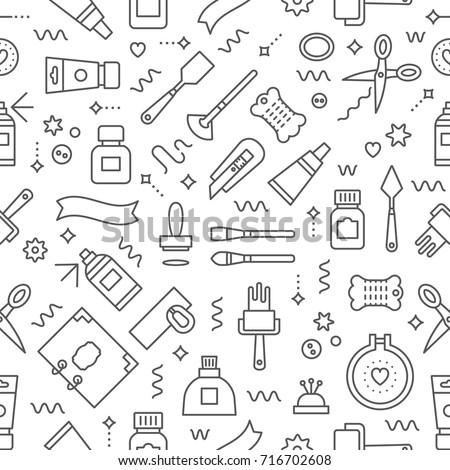 Editable Vector Seamless Pattern Craft Supplies Background Backdrop Texture For Flyer Banner
