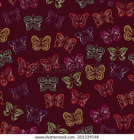 Editable vector seamless pattern with colorful gradient butterflies on a background of dark cherry color