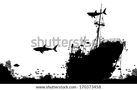 Editable vector silhouette foreground of coral, sharks and fish around a sunken boat - stock vector