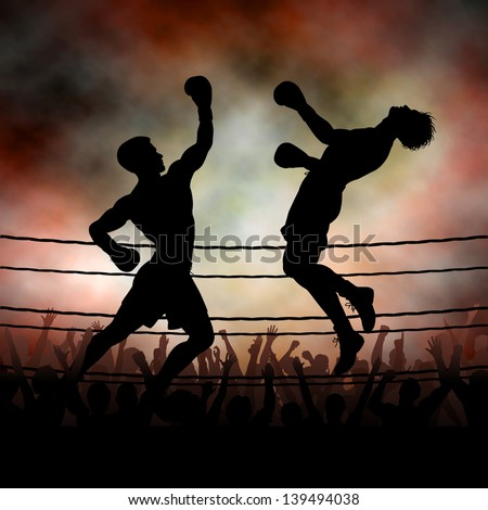 Editable vector silhouette of a boxer knocking out his opponent with an uppercut punch with background made using a gradient mesh - stock vector