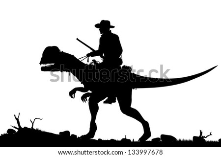 Editable vector silhouette of a cowboy riding a Dilophosaurus dinosaur as separate objects - stock vector
