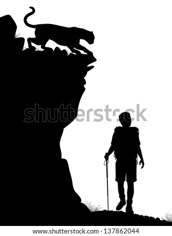 Editable vector silhouette of a lone hiker being stalked by a cougar - stock vector