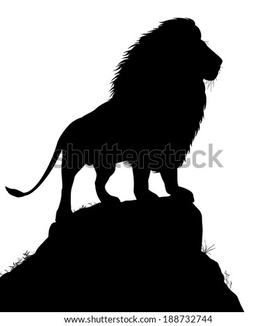 Editable vector silhouette of a male lion standing on a rocky outcrop with lion as a separate object - stock vector