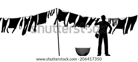 Editable vector silhouette of a man hanging clothes on a washing line - stock vector