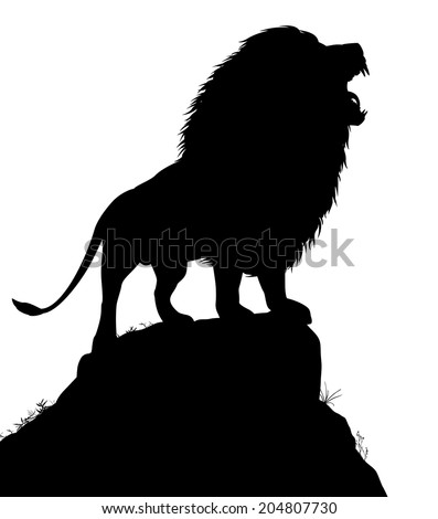 Editable vector silhouette of a roaring male lion standing on a rocky outcrop with lion as a separate object - stock vector