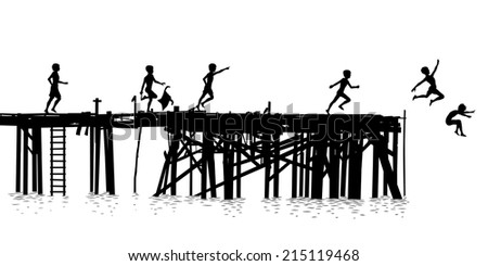 Editable vector silhouette of children jumping off a wooden jetty - stock vector