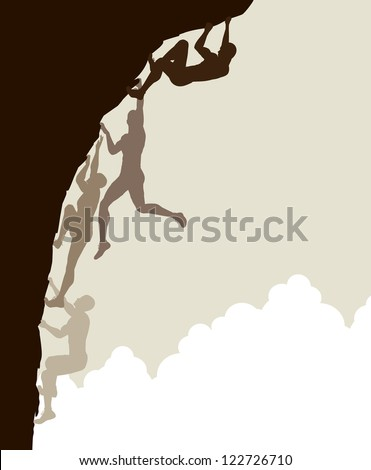 Editable vector silhouette sequence of a man free climbing without using safety ropes - stock vector
