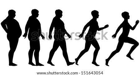 Editable vector silhouette sequence of a man losing weight and gaining fitness through exercise - stock vector