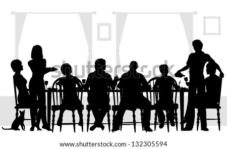 Editable vector silhouettes of a family dining together with all elements as separate objects - stock vector