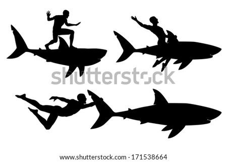 Editable vector silhouettes of a man riding a shark with men and sharks as separate objects - stock vector