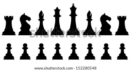 Editable vector silhouettes of a set of standard chess pieces - stock vector