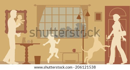 Editable vector silhouettes of a woman welcomed home by husband, children and dog - stock vector