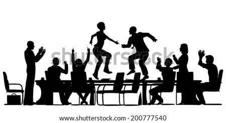 Editable vector silhouettes of business people celebrating at a meeting by dancing on the table with all elements as separate objects - stock vector