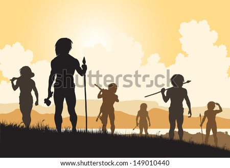 Editable vector silhouettes of cavemen hunters on patrol - stock vector