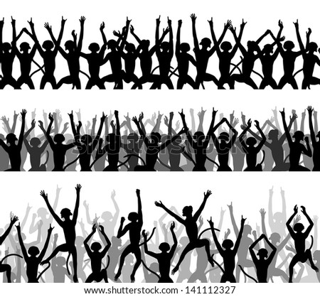 Editable vector silhouettes of crowds of excited monkeys