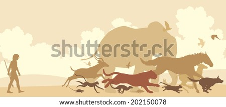 Editable vector silhouettes of diverse animals running away from an early man - stock vector