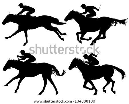 Editable vector silhouettes of racing horses with horses and jockeys as separate objects - stock vector