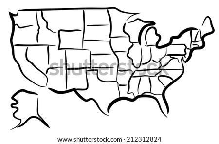 Editable vector sketch of the states in the USA - stock vector