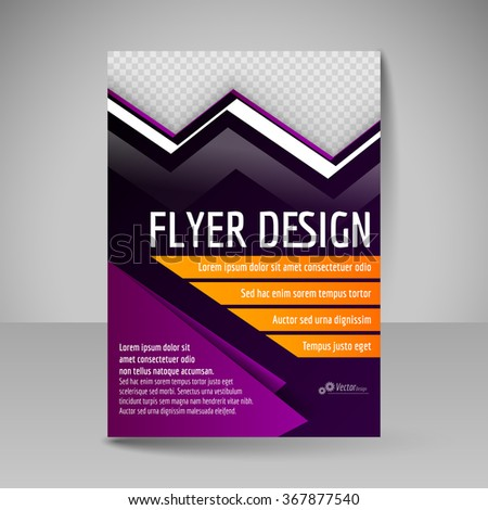 Editable vector template of flyer for business brochure, presentation, website, magazine cover. Purple and orange colors. - stock vector