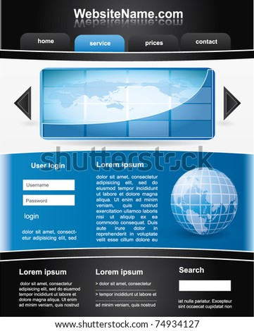 Editable vector website template - black and blue - stock vector
