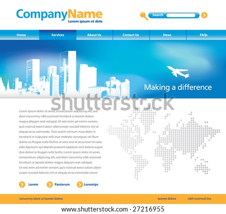 Editable vector website template with cityscape, jet and map - stock vector