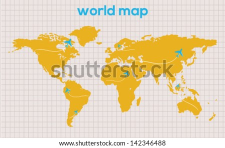 Editable vector world map on vintage background - stock vector