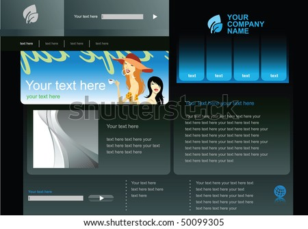 Editable web site design template vector - stock vector
